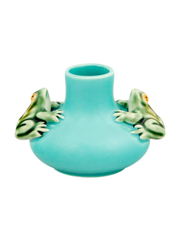 Bordallo Pinheiro Medium Vase Two Frogs